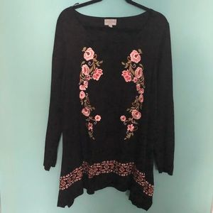 Joseph A Tunic Sweater with Embroidery 2X